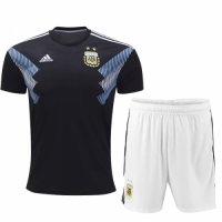 2018 World Cup Argentina Away Black&White Jersey Kit (Shirt+Shorts)