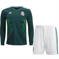 2018 World Cup Mexico Home Long Sleeve Jersey Kit (Shirt+Shorts)