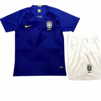 2018 World Cup Brazil Away Navy Children's Jersey Kit (Shirt+Shorts)