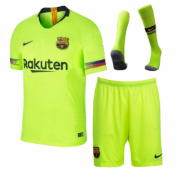 18-19 Barcelona Away Green Player Version Soccer Jersey Kit(Shirt+Short+Sock)