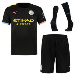 19-20 Manchester City Away Black Jerseys Whole Kit(Shirt+Short+Socks)