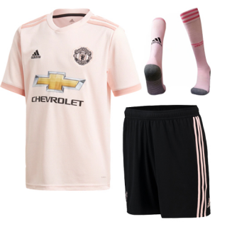 0ea96313a 18-19 Manchester United Away Pink Jersey Whole Kit(Shirt+Short+Socks ...