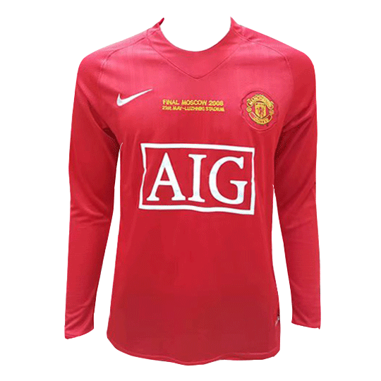 07-08 Manchester United Champion League Home Retro Long Sleeves Jersey Shirt
